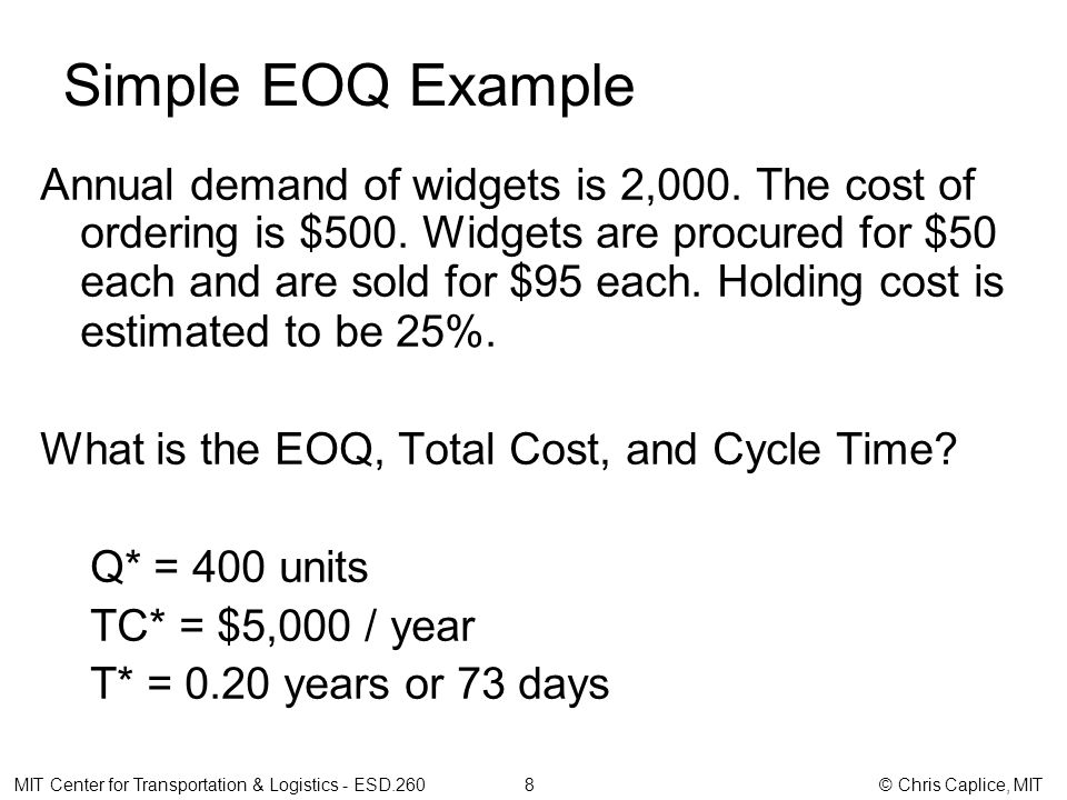 Simple EOQ Example Annual demand of widgets is 2,000.