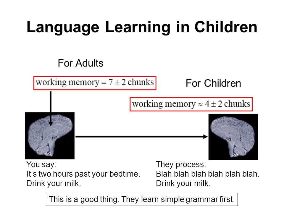 Language Learning in Children For Adults For Children You say: Its two hours past your bedtime.