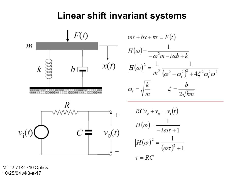 MIT 2.71/2.710 Optics 10/25/04 wk8-a-17 Linear shift invariant systems