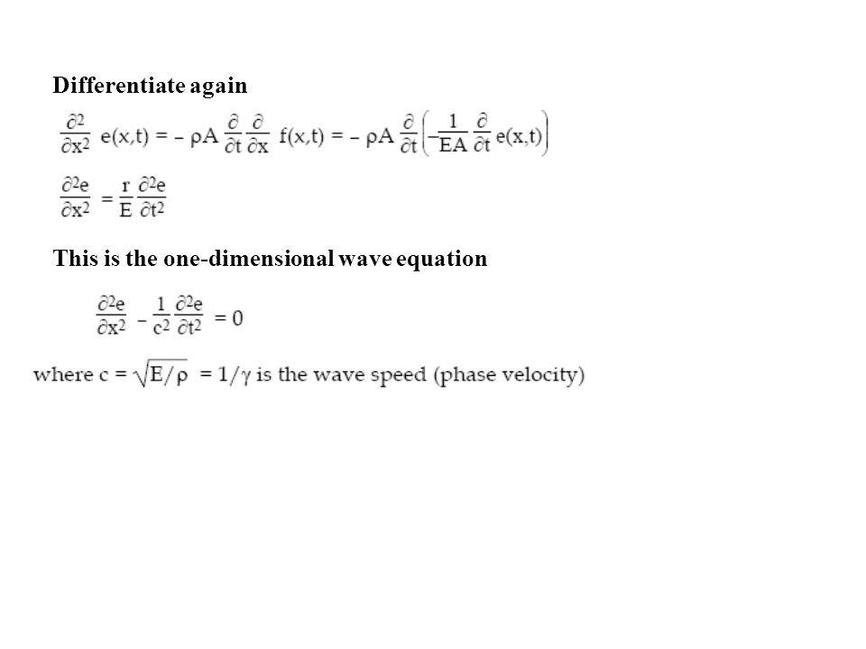Differentiate again This is the one-dimensional wave equation