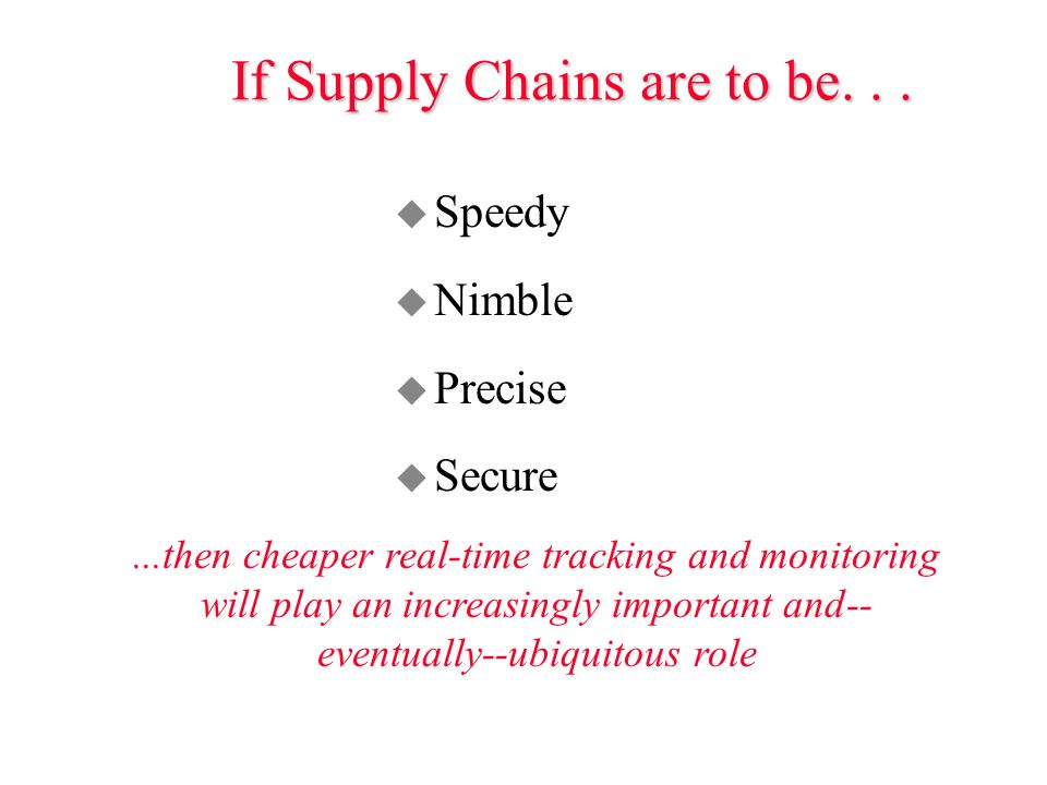 If Supply Chains are to be...