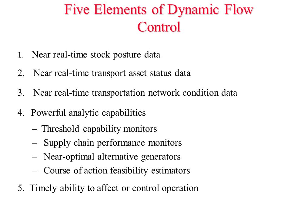 Five Elements of Dynamic Flow Control 1. Near real-time stock posture data 2.