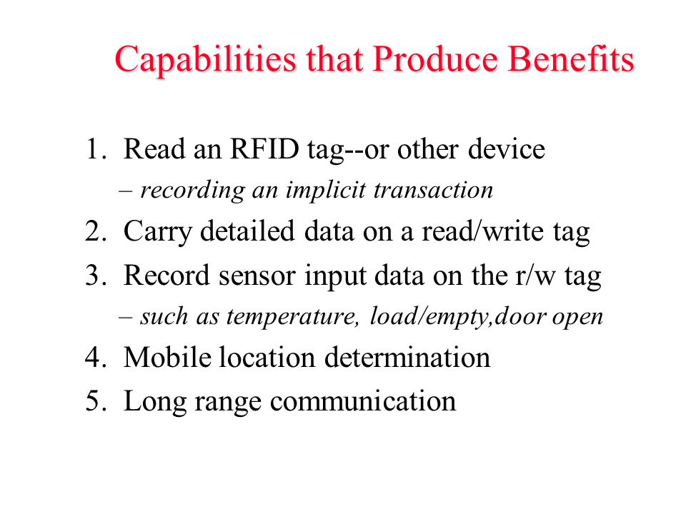 Capabilities that Produce Benefits 1.