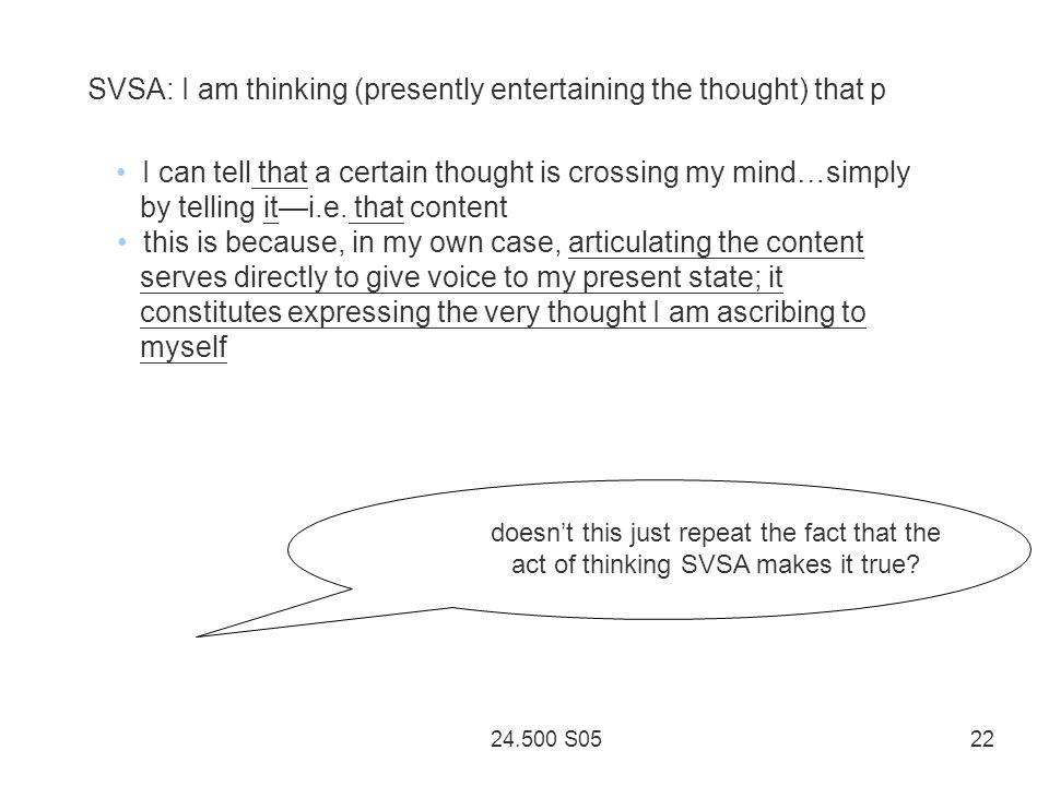 24.500 S05 22 SVSA: I am thinking (presently entertaining the thought) that p I can tell that a certain thought is crossing my mind…simply by telling iti.e.