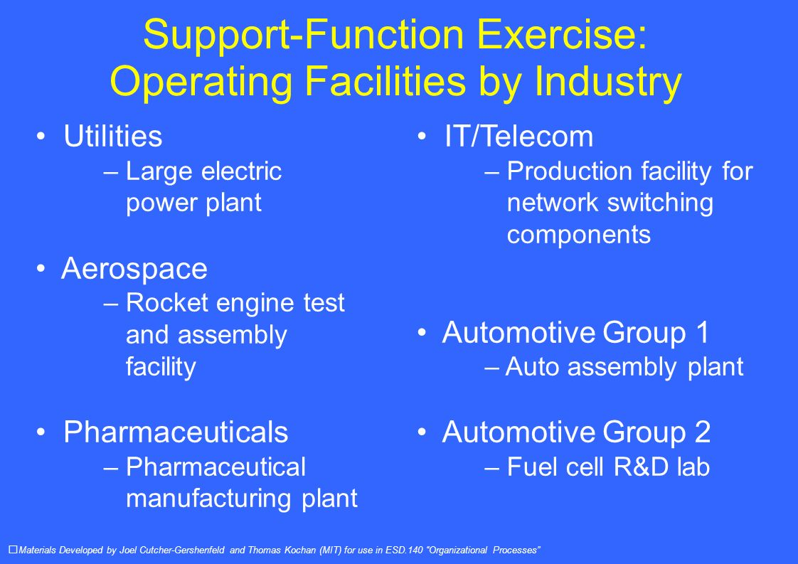 Support-Function Exercise: Operating Facilities by Industry Materials Developed by Joel Cutcher-Gershenfeld and Thomas Kochan (MIT) for use in ESD.140 Organizational Processes Utilities – Large electric power plant Aerospace – Rocket engine test and assembly facility Pharmaceuticals – Pharmaceutical manufacturing plant IT/Telecom – Production facility for network switching components Automotive Group 1 – Auto assembly plant Automotive Group 2 – Fuel cell R&D lab