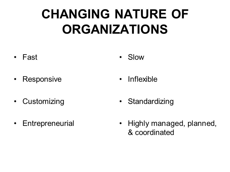 CHANGING NATURE OF ORGANIZATIONS Fast Responsive Customizing Entrepreneurial Slow Inflexible Standardizing Highly managed, planned, & coordinated