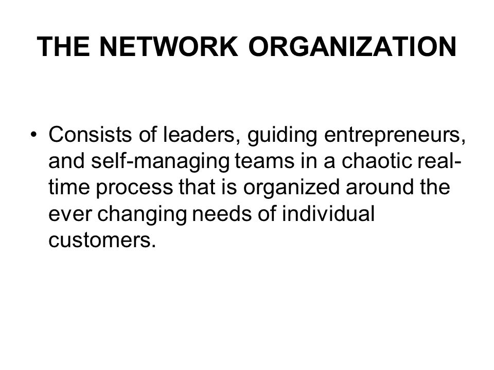 THE NETWORK ORGANIZATION Consists of leaders, guiding entrepreneurs, and self-managing teams in a chaotic real- time process that is organized around the ever changing needs of individual customers.