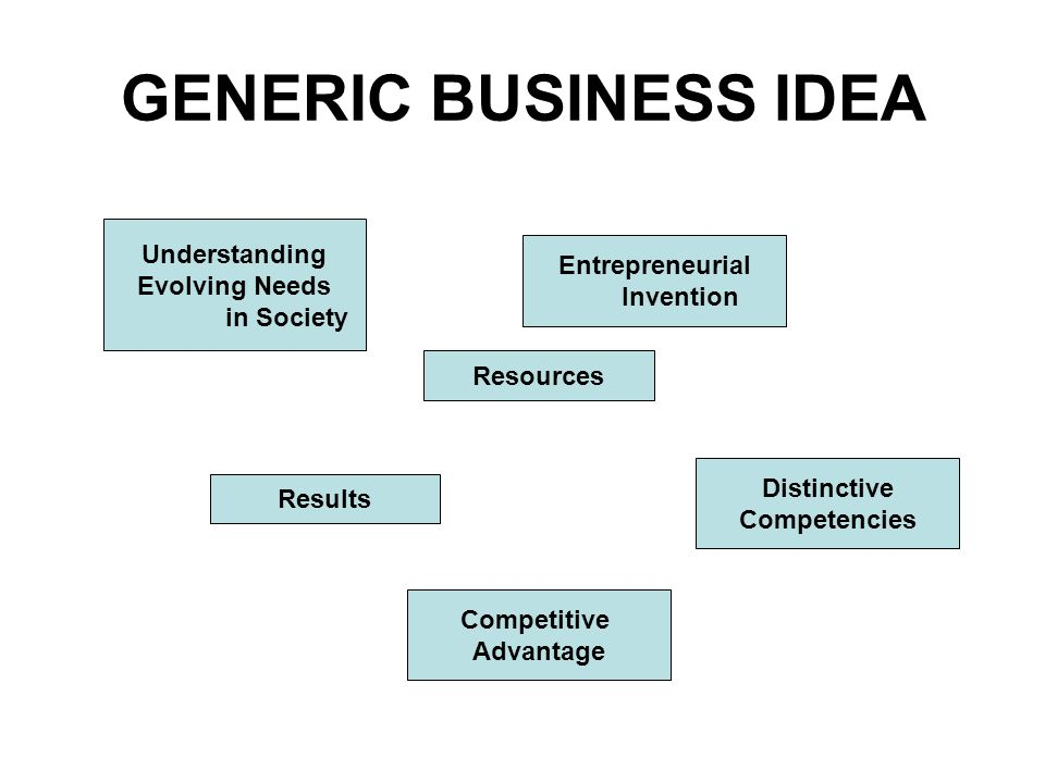 Understanding Evolving Needs in Society Entrepreneurial Invention Distinctive Competencies Resources Results Competitive Advantage GENERIC BUSINESS IDEA