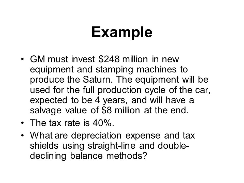 Example GM must invest $248 million in new equipment and stamping machines to produce the Saturn.
