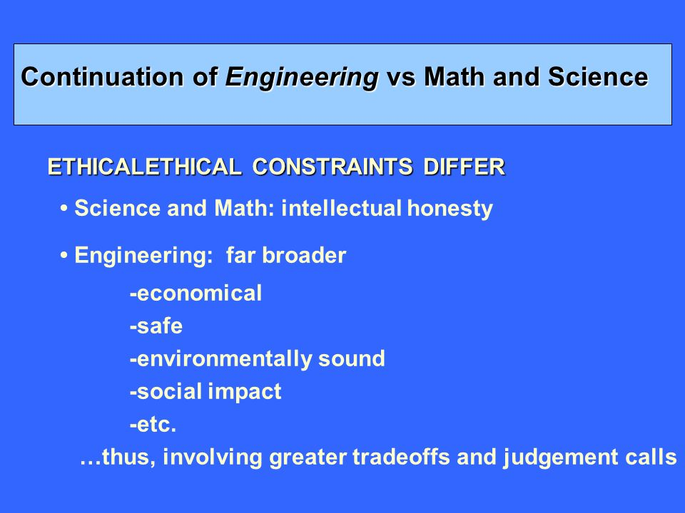 ETHICALETHICAL CONSTRAINTS DIFFER Science and Math: intellectual honesty Engineering: far broader -economical -safe -environmentally sound -social impact -etc.