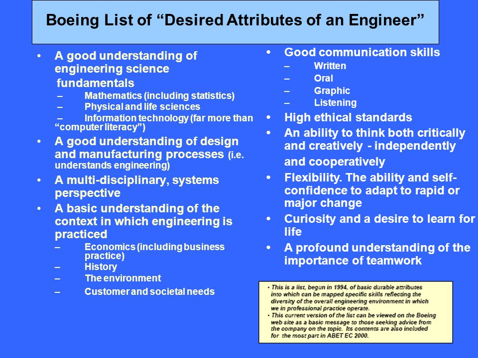 A good understanding of engineering science fundamentals –Mathematics (including statistics) –Physical and life sciences – Information technology (far more than computer literacy) A good understanding of design and manufacturing processes (i.e.