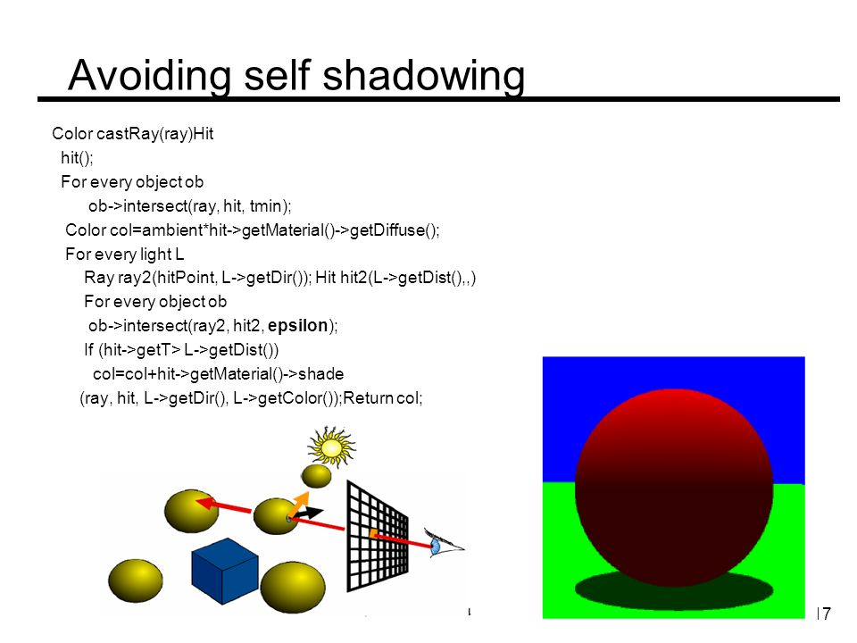 Avoiding self shadowing Color castRay(ray)Hit hit(); For every object ob ob->intersect(ray, hit, tmin); Color col=ambient*hit->getMaterial()->getDiffuse(); For every light L Ray ray2(hitPoint, L->getDir()); Hit hit2(L->getDist(),,) For every object ob ob->intersect(ray2, hit2, epsilon); If (hit->getT> L->getDist()) col=col+hit->getMaterial()->shade (ray, hit, L->getDir(), L->getColor());Return col; 17