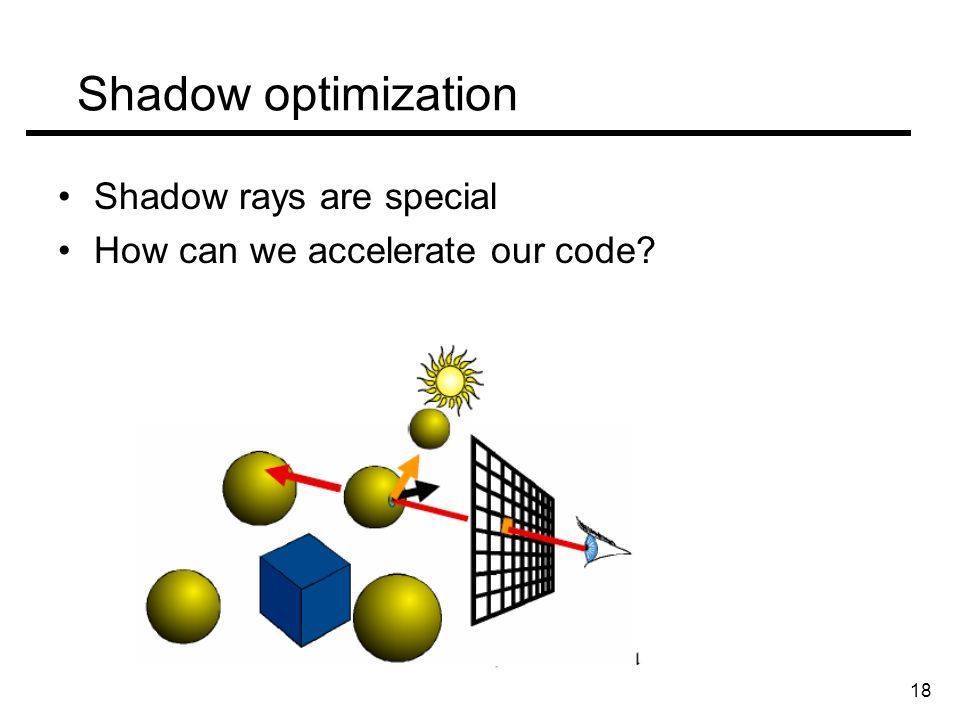 Shadow optimization Shadow rays are special How can we accelerate our code 18