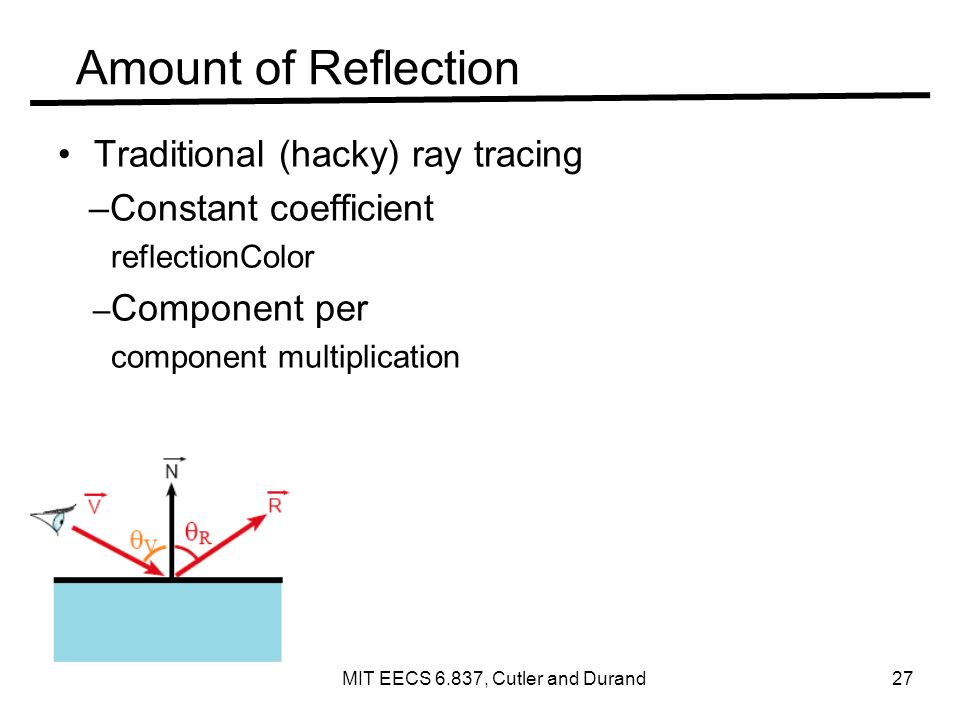 Amount of Reflection Traditional (hacky) ray tracing –Constant coefficient reflectionColor – Component per component multiplication MIT EECS 6.837, Cutler and Durand 27