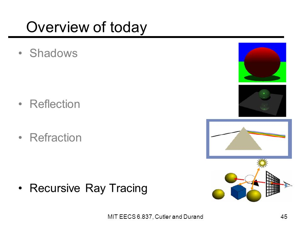 Overview of today Shadows Reflection Refraction Recursive Ray Tracing MIT EECS 6.837, Cutler and Durand 45