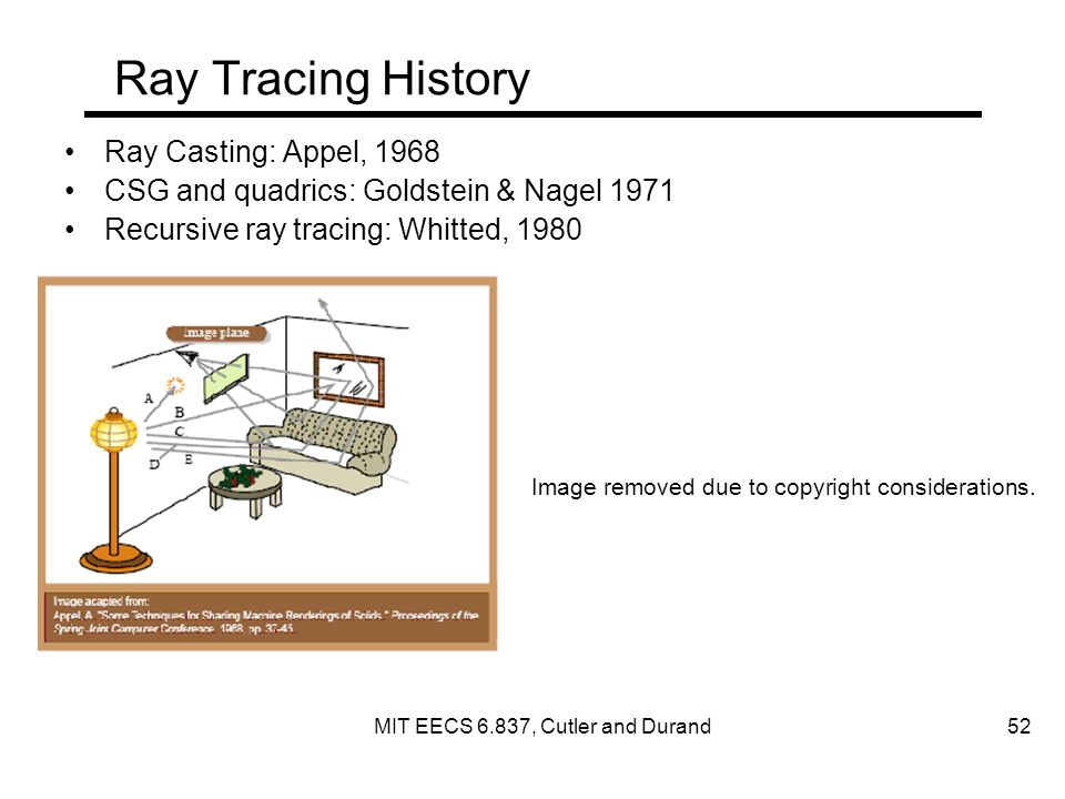 Ray Tracing History Ray Casting: Appel, 1968 CSG and quadrics: Goldstein & Nagel 1971 Recursive ray tracing: Whitted, 1980 Image removed due to copyright considerations.
