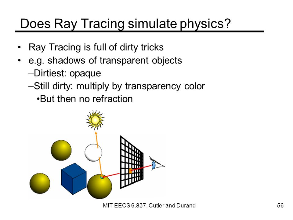 Does Ray Tracing simulate physics. Ray Tracing is full of dirty tricks e.g.