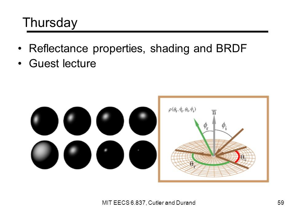 Thursday Reflectance properties, shading and BRDF Guest lecture MIT EECS 6.837, Cutler and Durand 59