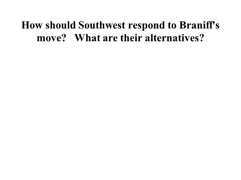 How should Southwest respond to Braniff s move What are their alternatives