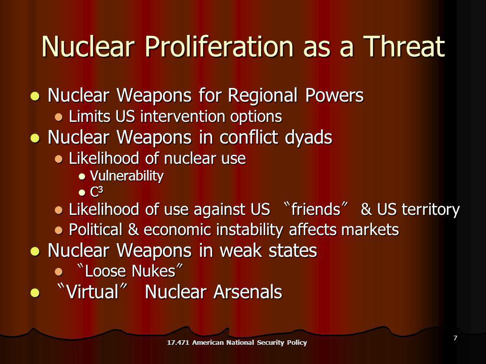 7 Nuclear Proliferation as a Threat Nuclear Weapons for Regional Powers Nuclear Weapons for Regional Powers Limits US intervention options Limits US intervention options Nuclear Weapons in conflict dyads Nuclear Weapons in conflict dyads Likelihood of nuclear use Likelihood of nuclear use Vulnerability Vulnerability C 3 C 3 Likelihood of use against US friends & US territory Likelihood of use against US friends & US territory Political & economic instability affects markets Political & economic instability affects markets Nuclear Weapons in weak states Nuclear Weapons in weak states Loose Nukes Loose Nukes Virtual Nuclear Arsenals Virtual Nuclear Arsenals 17.471 American National Security Policy