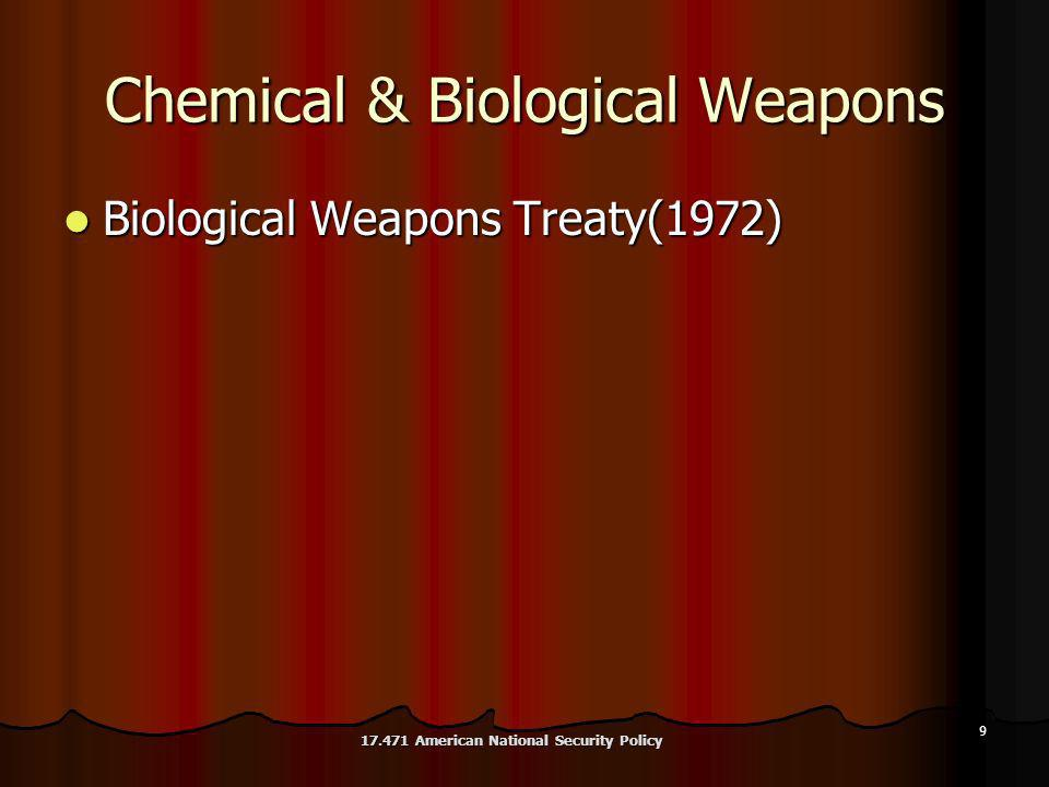 9 Chemical & Biological Weapons Biological Weapons Treaty(1972) Biological Weapons Treaty(1972) 17.471 American National Security Policy