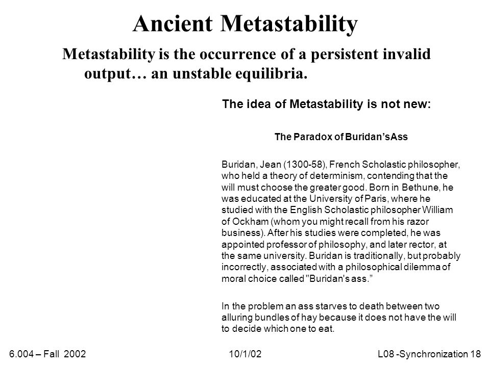 6.004 – Fall 200210/1/02L08 -Synchronization 18 Ancient Metastability Metastability is the occurrence of a persistent invalid output… an unstable equilibria.