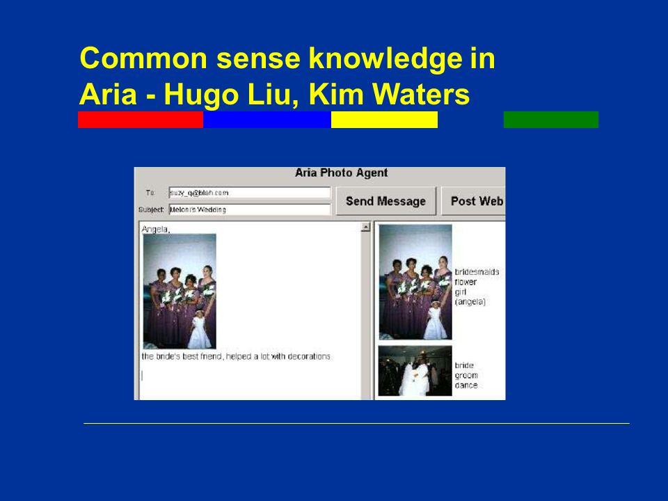 Common sense knowledge in Aria - Hugo Liu, Kim Waters