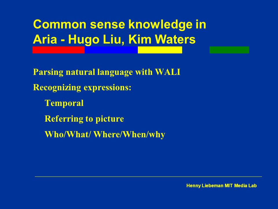 Common sense knowledge in Aria - Hugo Liu, Kim Waters Parsing natural language with WALI Recognizing expressions: Temporal Referring to picture Who/What/ Where/When/why Henny Liebeman MIT Media Lab
