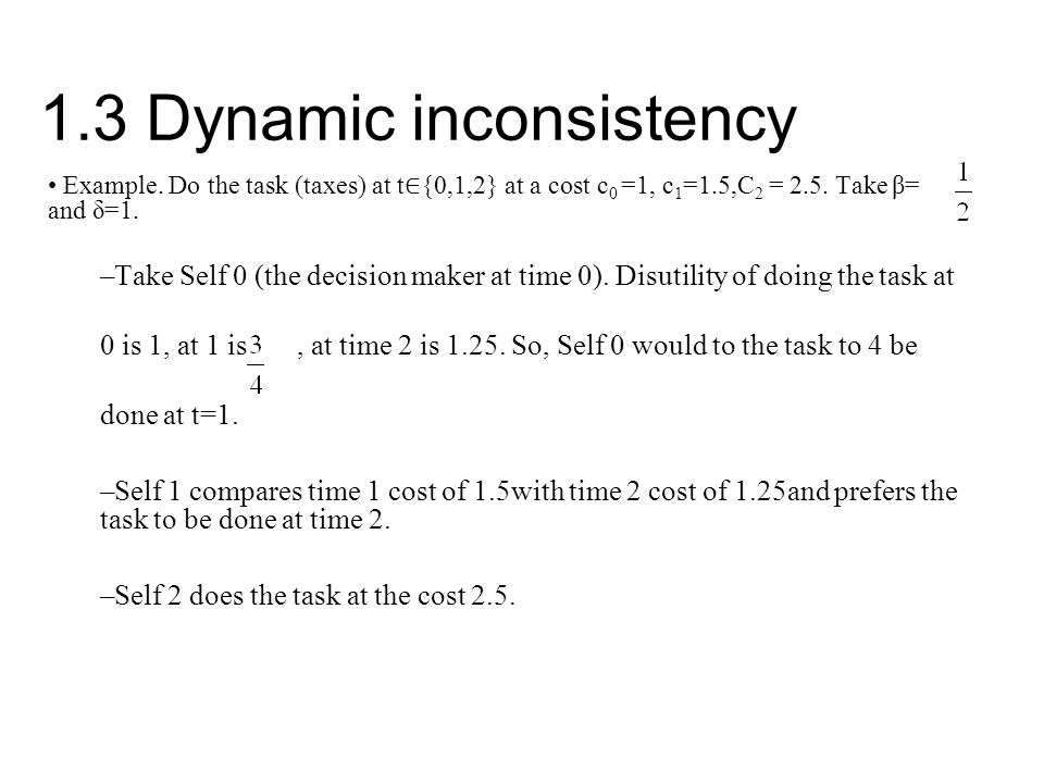 1.3 Dynamic inconsistency Example.