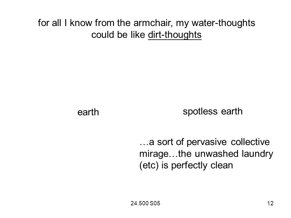 24.500 S0512 for all I know from the armchair, my water-thoughts could be like dirt-thoughts spotless earth earth …a sort of pervasive collective mirage…the unwashed laundry (etc) is perfectly clean
