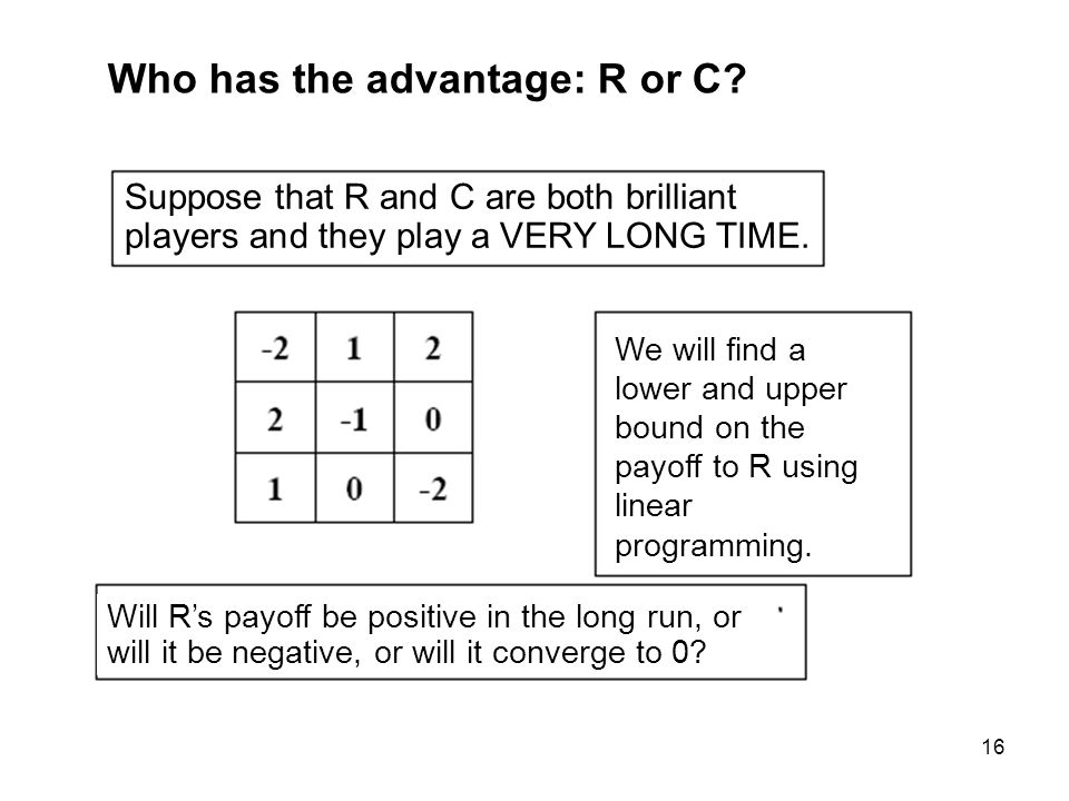 16 Who has the advantage: R or C.