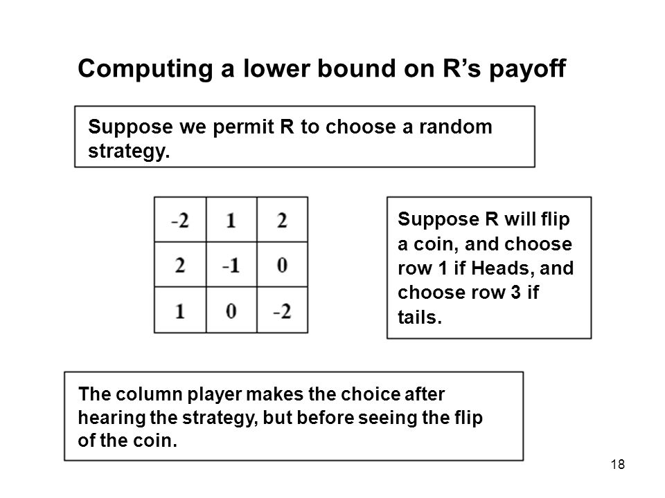 18 Computing a lower bound on Rs payoff Suppose we permit R to choose a random strategy.