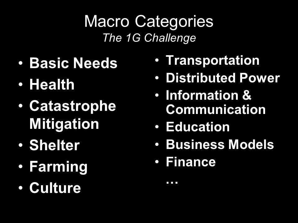 Macro Categories The 1G Challenge Basic Needs Health Catastrophe Mitigation Shelter Farming Culture Transportation Distributed Power Information & Communication Education Business Models Finance …
