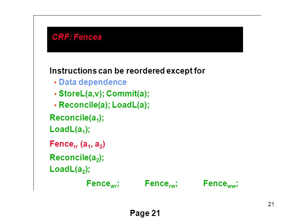 21 Page 21 CRF: Fences Instructions can be reordered except for Data dependence StoreL(a,v); Commit(a); Reconcile(a); LoadL(a); Reconcile(a 1 ); LoadL(a 1 ); Fence rr (a 1, a 2 ) Reconcile(a 2 ); LoadL(a 2 ); Fence wr ;Fence rw ;Fence ww ;