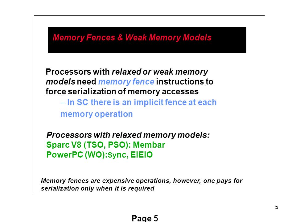 5 Page 5 Memory Fences & Weak Memory Models Processors with relaxed or weak memory models need memory fence instructions to force serialization of memory accesses – In SC there is an implicit fence at each memory operation Processors with relaxed memory models: Sparc V8 (TSO, PSO): Membar PowerPC (WO): Sy nc, EIEIO Memory fences are expensive operations, however, one pays for serialization only when it is required