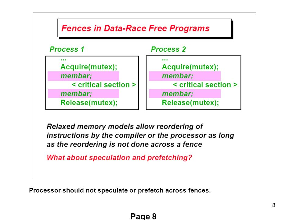 8 Page 8 Processor should not speculate or prefetch across fences.