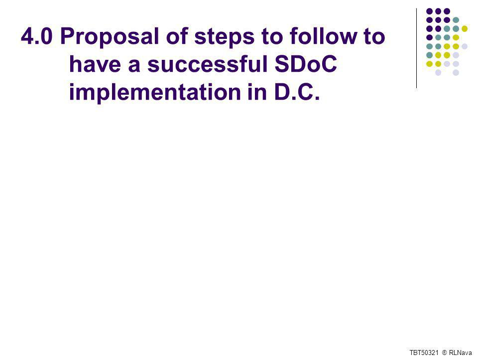 4.0 Proposal of steps to follow to have a successful SDoC implementation in D.C. TBT50321 ® RLNava