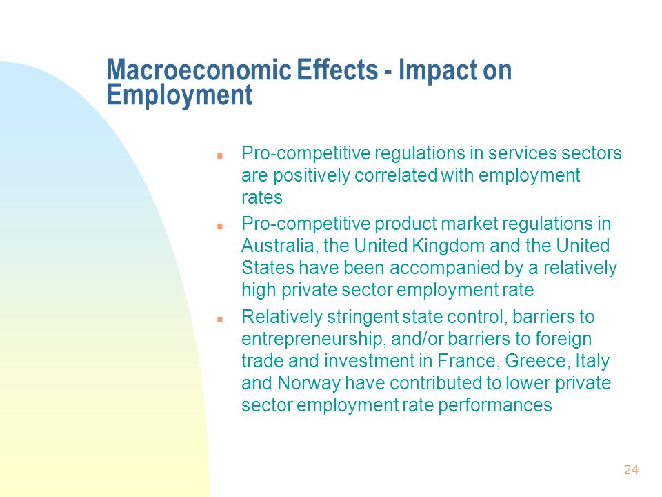 24 Macroeconomic Effects - Impact on Employment n Pro-competitive regulations in services sectors are positively correlated with employment rates n Pro-competitive product market regulations in Australia, the United Kingdom and the United States have been accompanied by a relatively high private sector employment rate n Relatively stringent state control, barriers to entrepreneurship, and/or barriers to foreign trade and investment in France, Greece, Italy and Norway have contributed to lower private sector employment rate performances