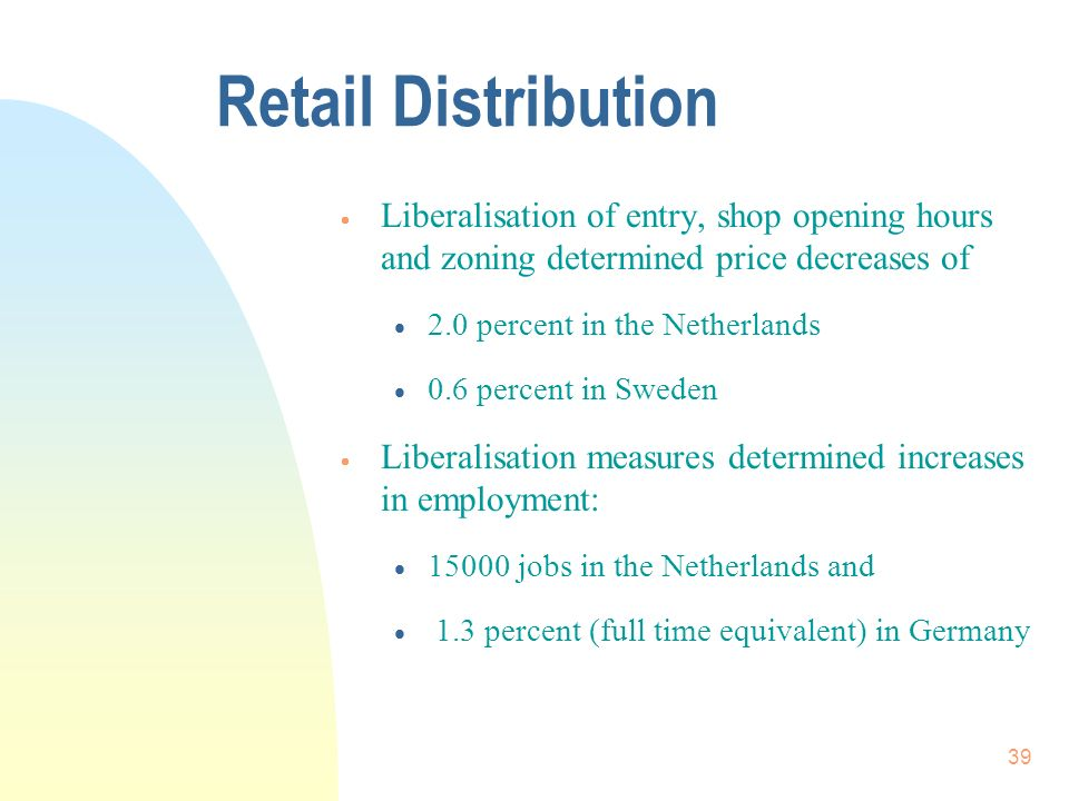 39 Retail Distribution Liberalisation of entry, shop opening hours and zoning determined price decreases of 2.0 percent in the Netherlands 0.6 percent in Sweden Liberalisation measures determined increases in employment: 15000 jobs in the Netherlands and 1.3 percent (full time equivalent) in Germany