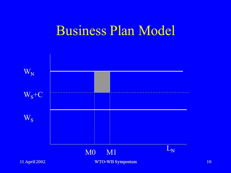 11 April 2002WTO-WB Symposium10 Business Plan Model W N W S +C W S M0M1 LNLN