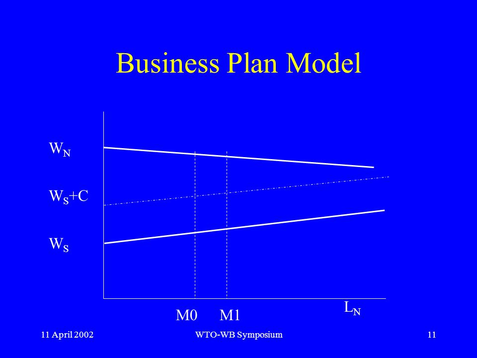 11 April 2002WTO-WB Symposium11 Business Plan Model W N W S +C W S M0M1 LNLN