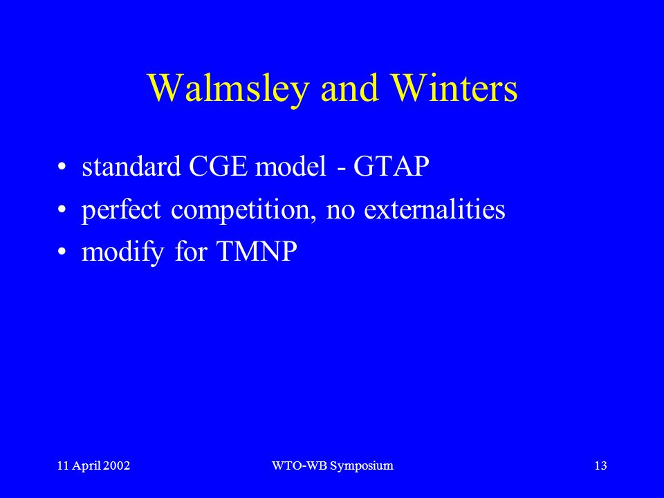 11 April 2002WTO-WB Symposium13 Walmsley and Winters standard CGE model - GTAP perfect competition, no externalities modify for TMNP