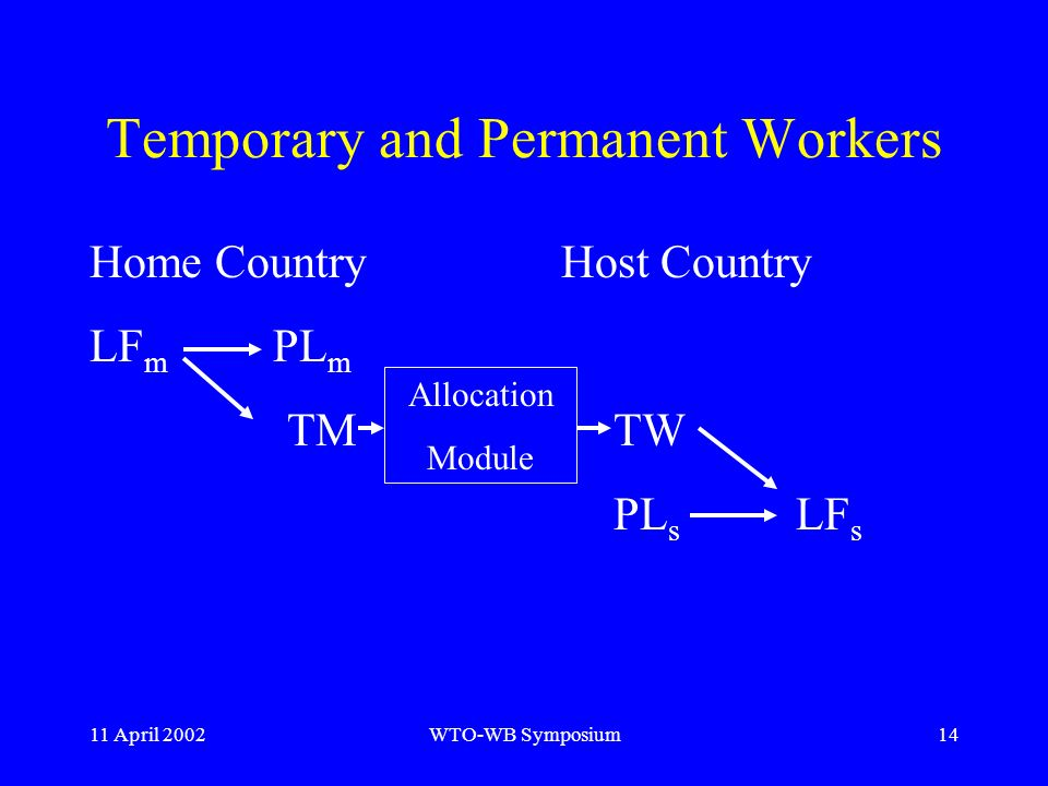 11 April 2002WTO-WB Symposium14 Temporary and Permanent Workers Host CountryHome Country LF m PL m TMTW PL s LF s Allocation Module
