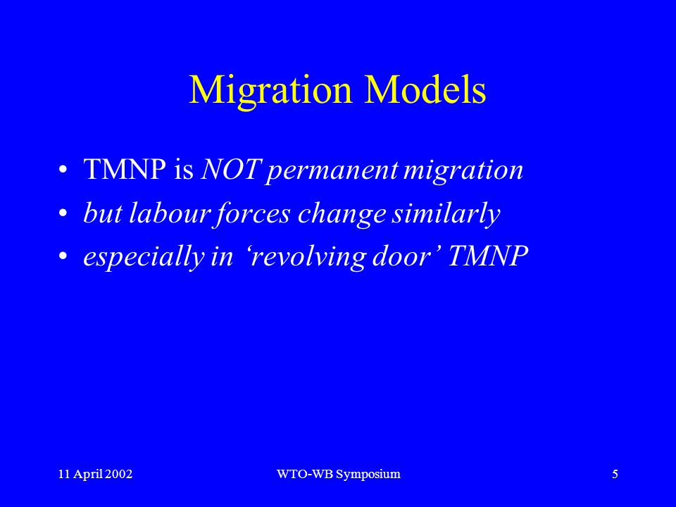 11 April 2002WTO-WB Symposium5 Migration Models TMNP is NOT permanent migration but labour forces change similarly especially in revolving door TMNP