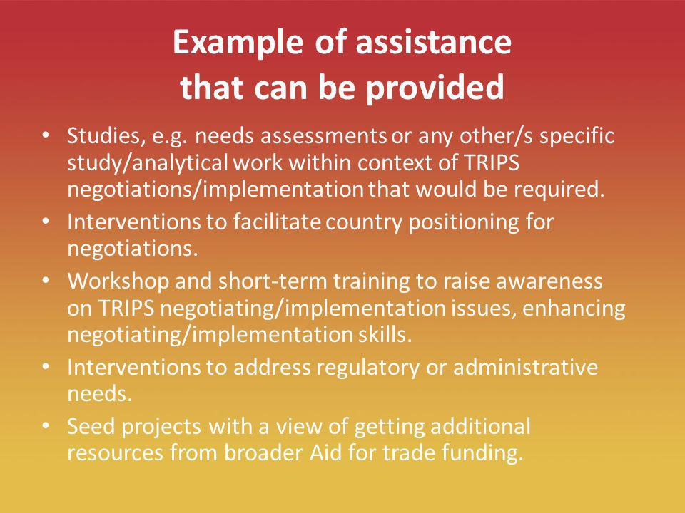 19 Example of assistance that can be provided Studies, e.g.