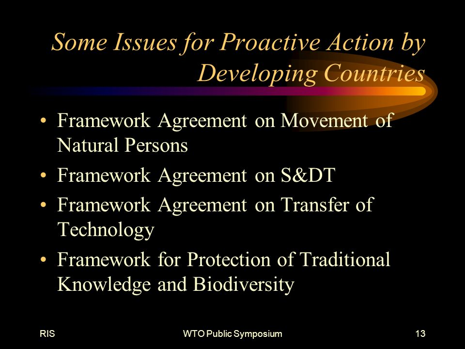 RISWTO Public Symposium13 Some Issues for Proactive Action by Developing Countries Framework Agreement on Movement of Natural Persons Framework Agreement on S&DT Framework Agreement on Transfer of Technology Framework for Protection of Traditional Knowledge and Biodiversity
