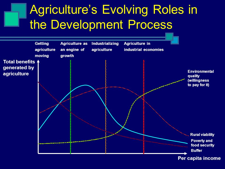 Agricultures Evolving Roles in the Development Process Total benefits generated by agriculture Getting agriculture moving Agriculture as an engine of growth Industrializing agriculture Agriculture in industrial economies Environmental quality (willingness to pay for it) Rural viability Poverty and food security Buffer Per capita income