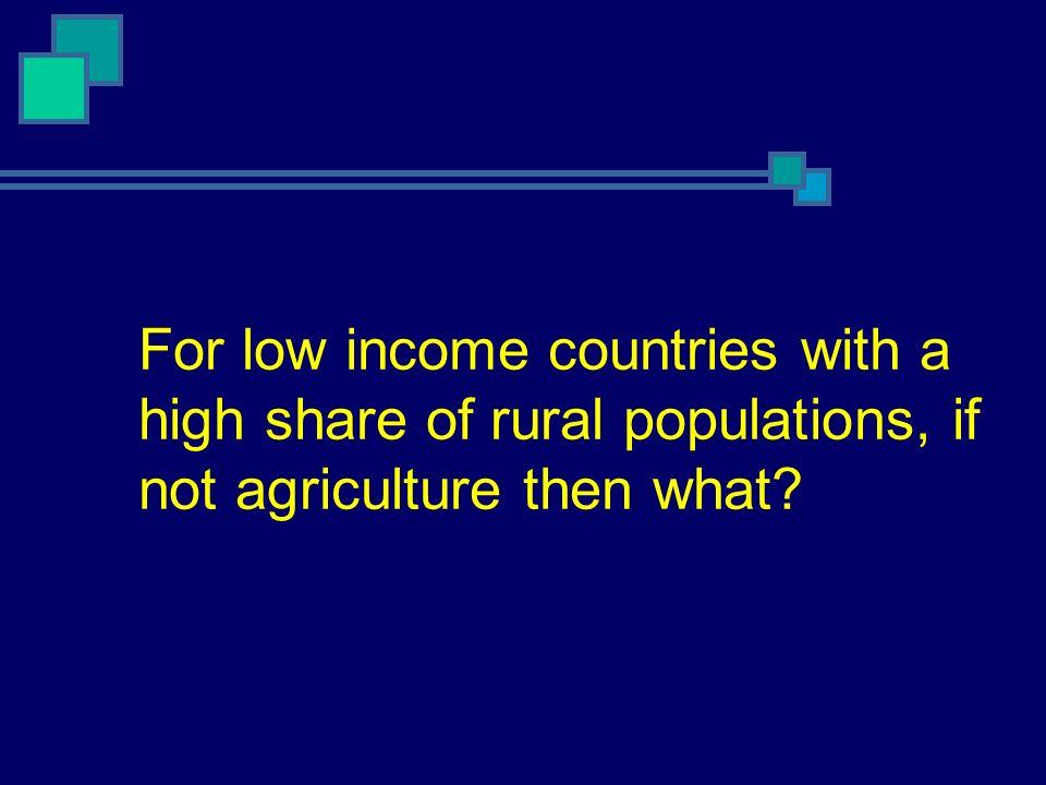 For low income countries with a high share of rural populations, if not agriculture then what