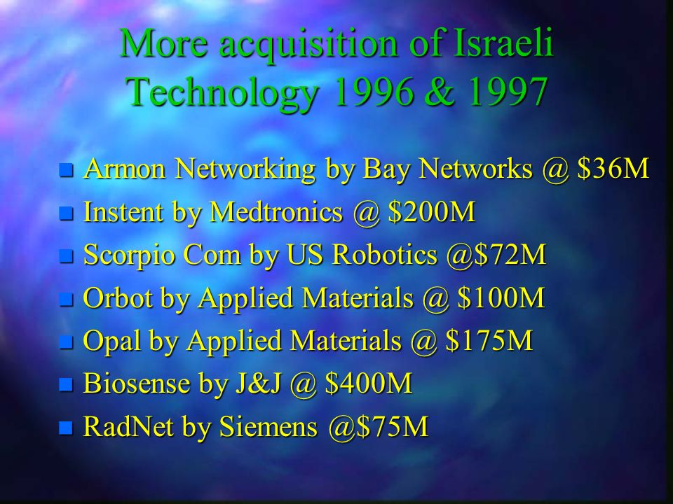 n Armon Networking by Bay Networks @ $36M n Instent by Medtronics @ $200M n Scorpio Com by US Robotics @$72M n Orbot by Applied Materials @ $100M n Opal by Applied Materials @ $175M n Biosense by J&J @ $400M n RadNet by Siemens @$75M More acquisition of Israeli Technology 1996 & 1997