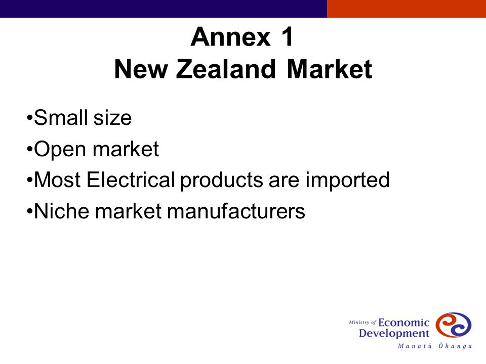 Annex 1 New Zealand Market Small size Open market Most Electrical products are imported Niche market manufacturers